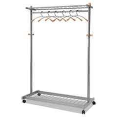 "Coat Rack,Holds 36 Hangers,2 Shelf,Wheels,45""x22""x71"", MCGY"